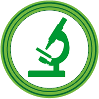 Medical Lab Sciences icon, microscope in a circle